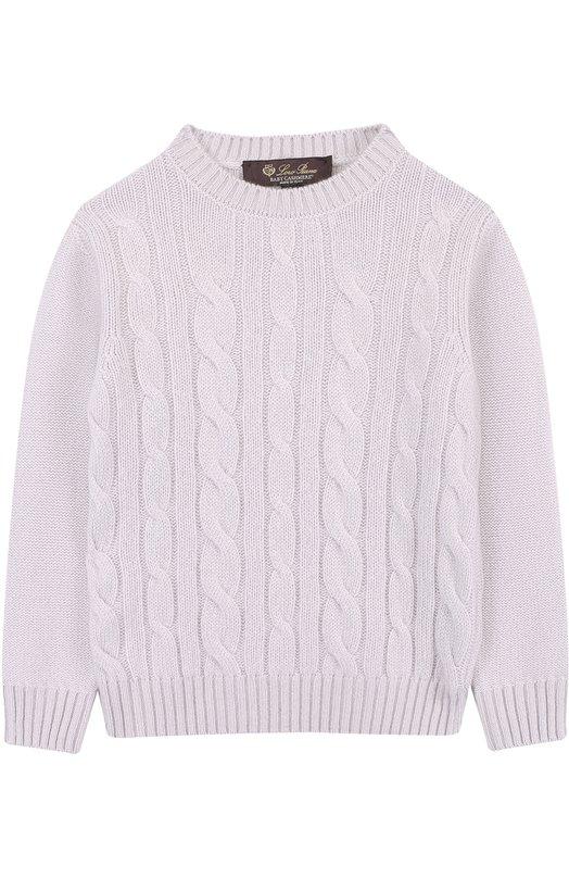 Купить Кашемировый пуловер фактурной вязки Loro Piana, FAI1207, Италия, Светло-серый, Кашемир: 100%;
