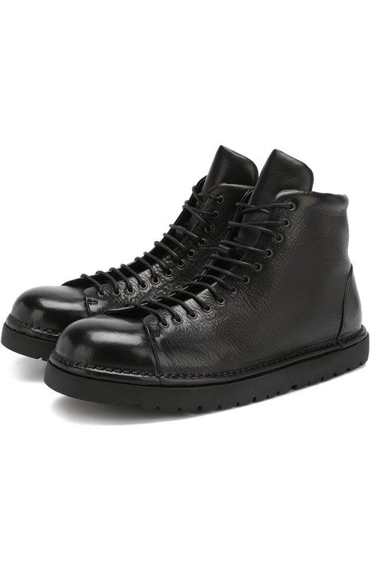 Купить Кожаные ботинки на шнуровке Marsell, MMG351/VACCH.V0L0NATA, Италия, Черный, Подошва-резина: 100%; Подкладка-кожа: 100%; Кожа: 100%;
