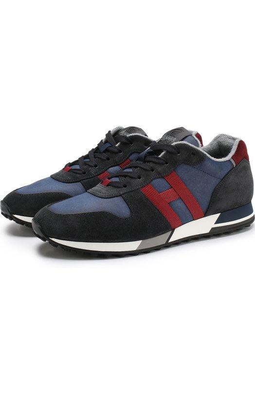 Купить Комбинированные кроссовки на шнуровке Hogan, HXM3830AN50JHL, Италия, Темно-синий, Текстиль: 70%; Кожа: 30%; Подошва-Резина: 100%; Подкладка-Кожа: 100%; Подкладка-Текстиль: 100%;