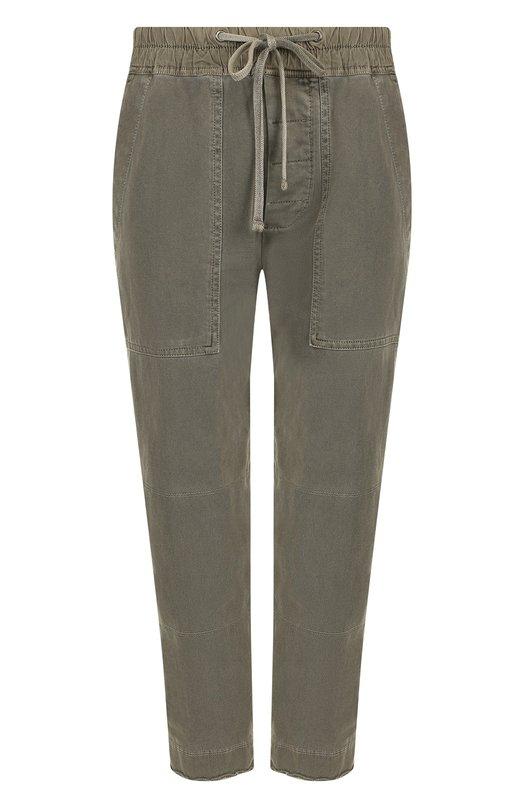 Купить Укороченные хлопковые брюки с эластичным поясом James Perse, WDNW1791, Китай, Хаки, Хлопок: 100%;