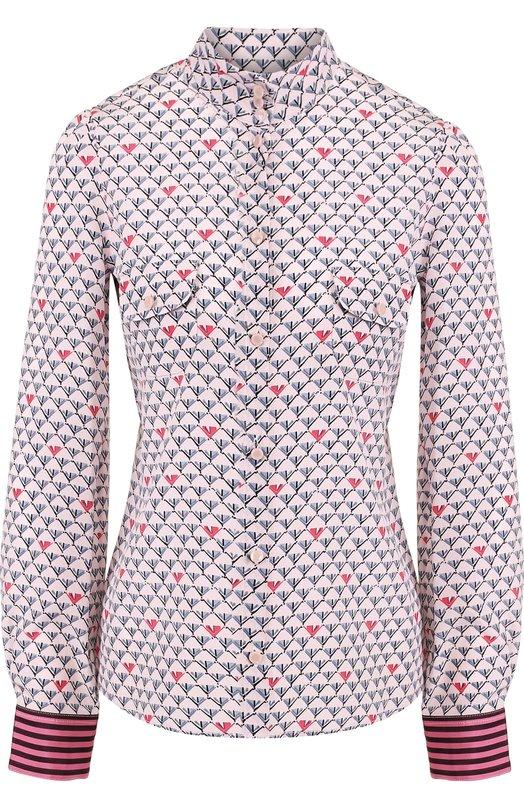 Купить Шелковая блуза с принтом и воротником-стойкой Emporio Armani, 1NC36T/12505, Болгария, Розовый, Шелк: 100%;