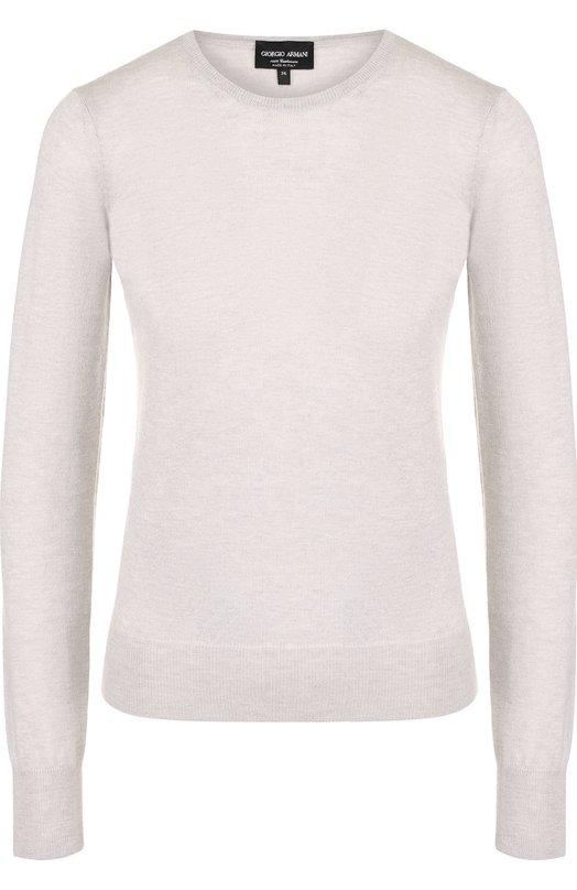 Купить Однотонный кашемировый пуловер с круглым вырезом Giorgio Armani, 6ZAM19/AM62Z, Италия, Светло-серый, Кашемир: 100%;