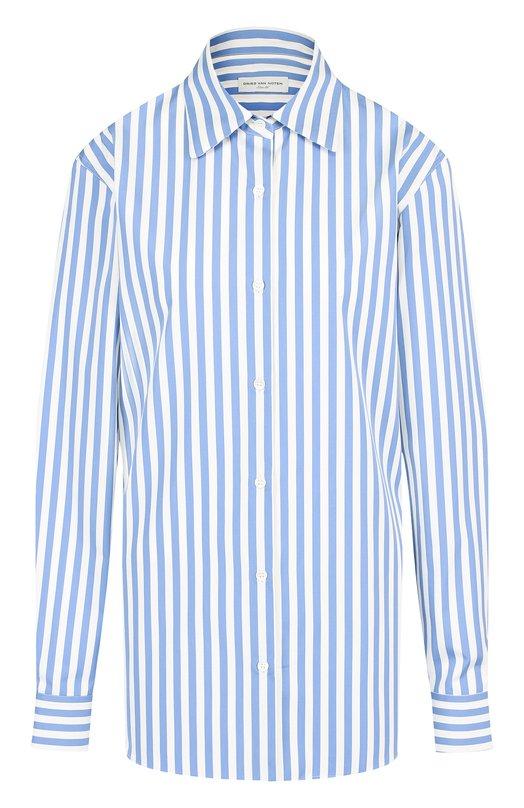Купить Хлопковая блуза в полоску Dries Van Noten, 182-10744-6050, Португалия, Голубой, Хлопок: 100%;
