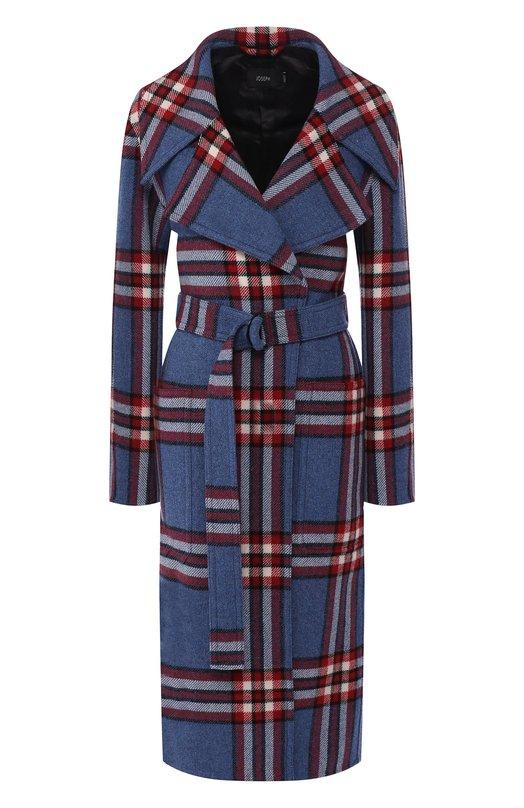 Купить Шерстяное пальто с поясом Joseph, JF002037, Китай, Темно-синий, Шерсть: 75%; Волокна прочие: 5%; Полиамид: 20%;