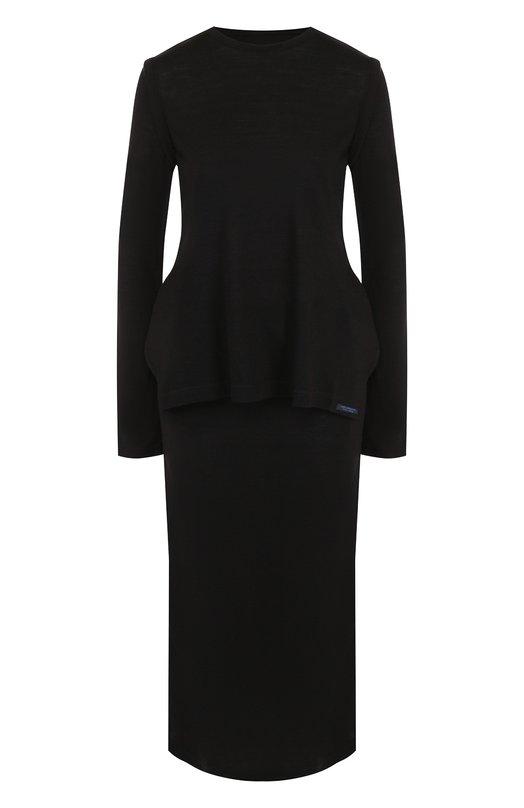 Купить Платье-миди с разрезами по бокам Yohji Yamamoto, FI-T58-500, Япония, Черный, Акрил: 90%; Шерсть: 10%;