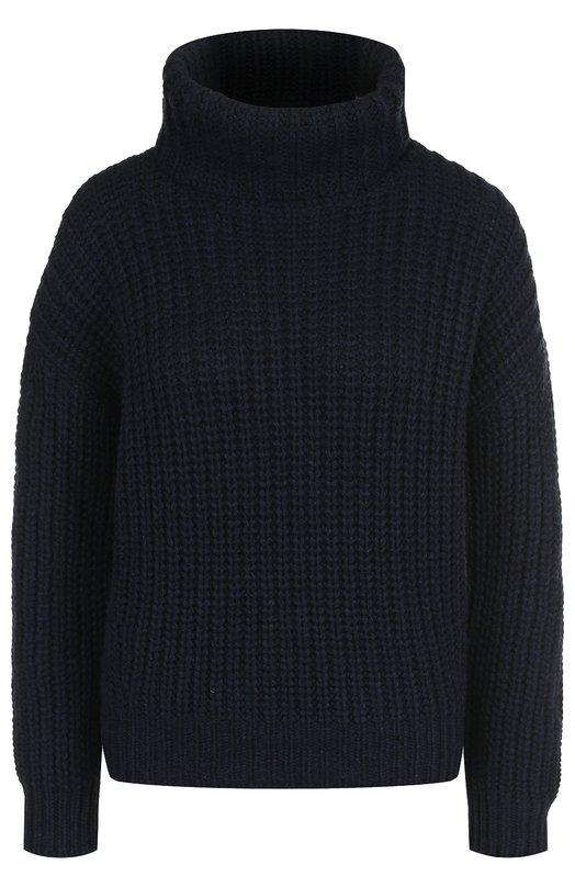 Купить Кашемировый пуловер фактурной вязки с высоким воротником Loro Piana, FAF9199, Италия, Темно-синий, Кашемир: 100%;
