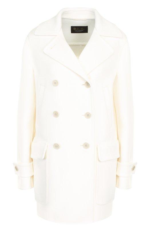 Купить Однотонное кашемировое пальто с накладными карманами Loro Piana, FAI1799, Италия, Белый, Кашемир: 100%;