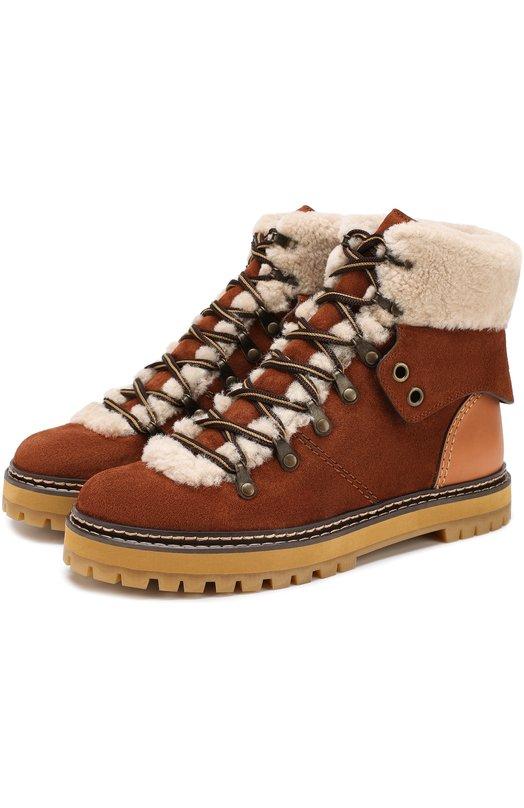Купить Замшевые ботинки с внутренней отделкой из овчины See by Chloé, SB31120A/8231, Китай, Коричневый, Подкладка-кожа: 82%; Подкладка-мех/овчина/: 18%; Кожа: 100%; Отделка мех./овчина/: 100%; Подошва-резина: 100%;