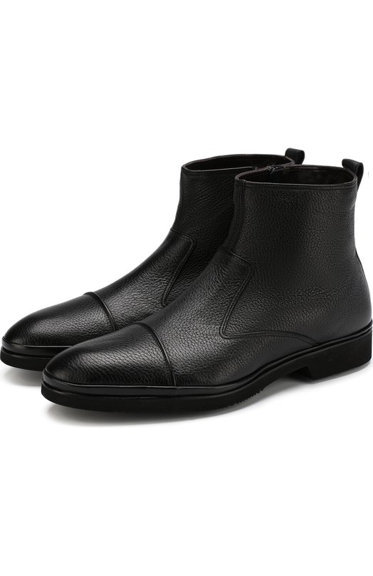Купить Высокие кожаные ботинки на молнии с внутренней меховой отделкой Aldo Brue, AB853DP-CM3, Италия, Черный, Подкладка-Мех натуральный: 95%; Подкладка-Кожа: 5%; Подошва-Резина: 100%; Кожа: 100%;