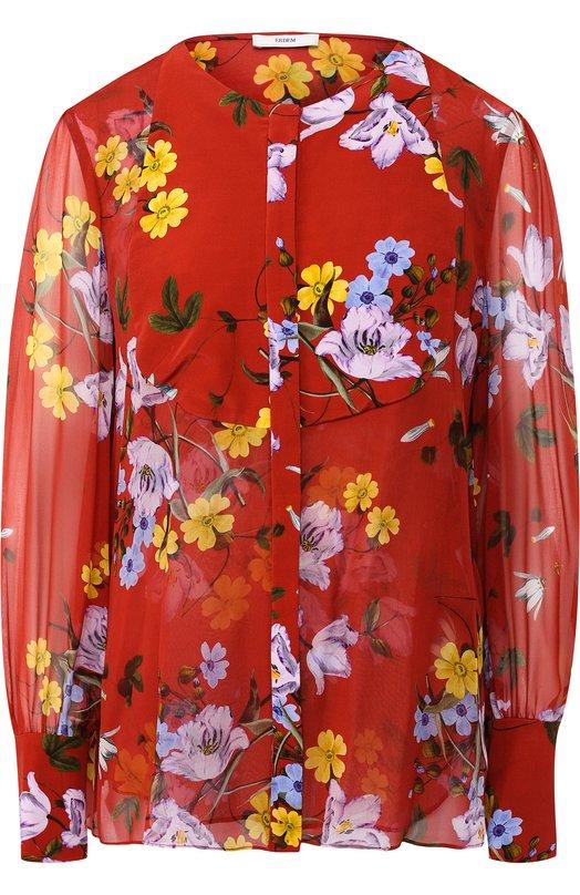Купить Шелковая блуза с круглым вырезом и принтом Erdem, PS18_5695FTV, Португалия, Разноцветный, Шелк: 100%;
