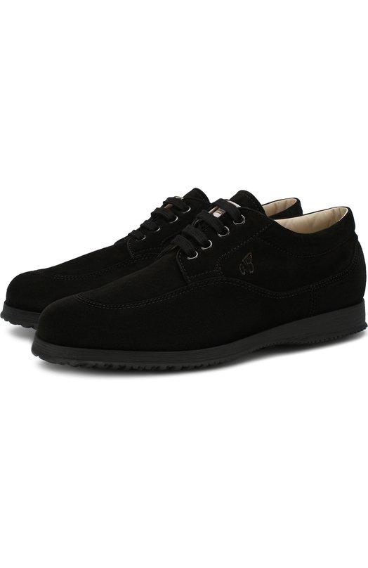 Купить Замшевые ботинки Traditional на шнуровке Hogan, HXW00E00010CR0, Италия, Черный, Подошва-резина: 100%; Подкладка-кожа: 100%; Кожа: 100%;