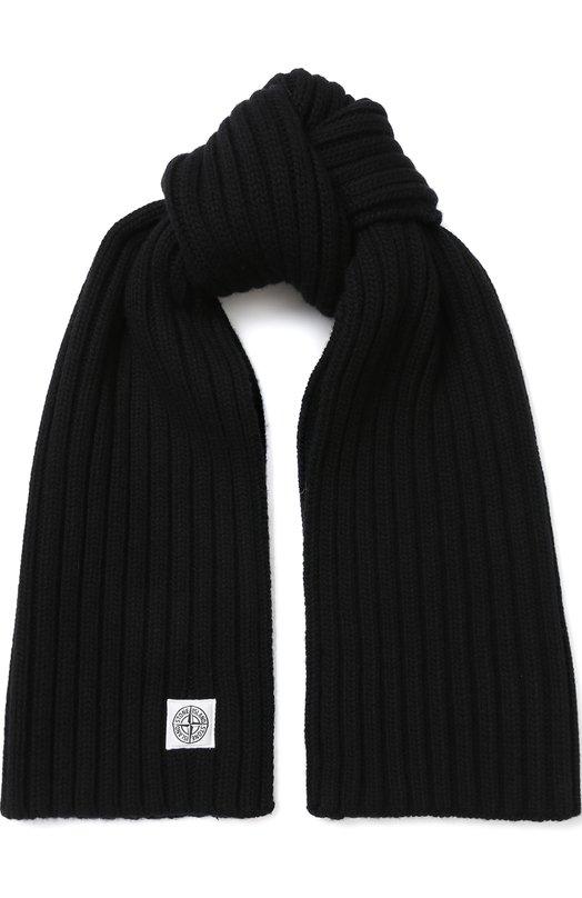 Купить Шерстяной шарф с логотипом бренда Stone Island, 6915N14C1, Италия, Черный, Шерсть: 100%;