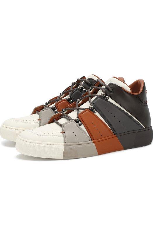 Купить Кожаные кеды с контрастной отделкой на шнуровке Zegna Couture, A4044X-SWY, Италия, Коричневый, Подошва-резина: 90%; Подкладка-кожа: 100%; Кожа: 100%; Подошва-кожа: 10%;