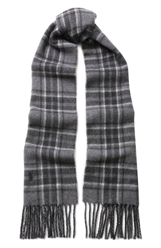 Купить Шерстяной шарф с бахромой Polo Ralph Lauren, 449727536, Италия, Светло-серый, Шерсть: 80%; Полиамид: 20%;