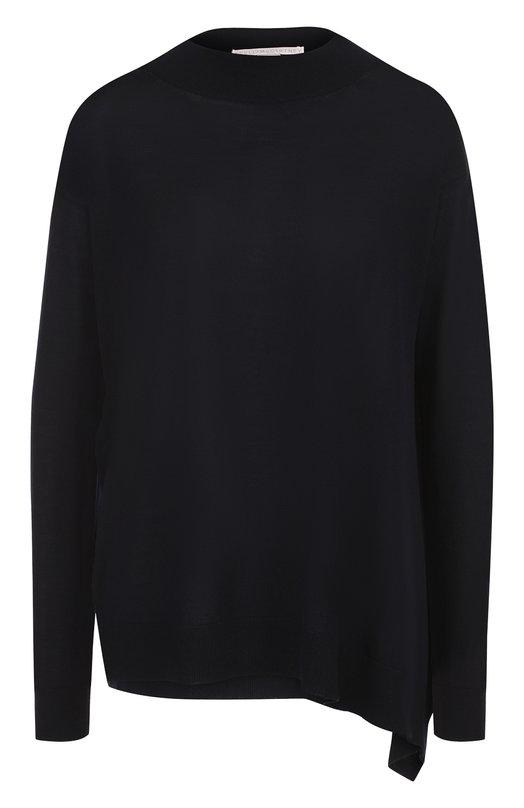 Купить Шерстяной пуловер свободного кроя с разрезом Stella McCartney, 521668/S1735, Италия, Темно-синий, Шерсть: 100%;