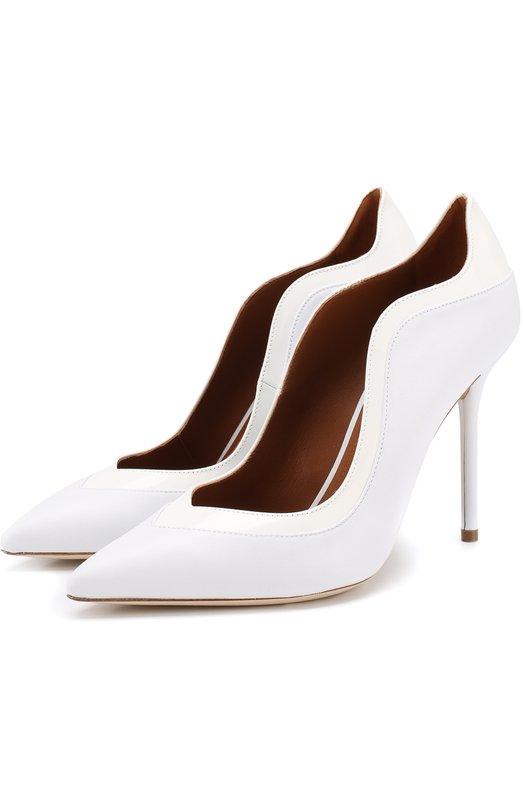 Купить Кожаные туфли Penelope на шпильке Malone Souliers, PENEL0PE 100-6/NAPPA/PATENT, Италия, Белый, Подошва-кожа: 100%; Подкладка-кожа: 100%; Кожа: 100%;