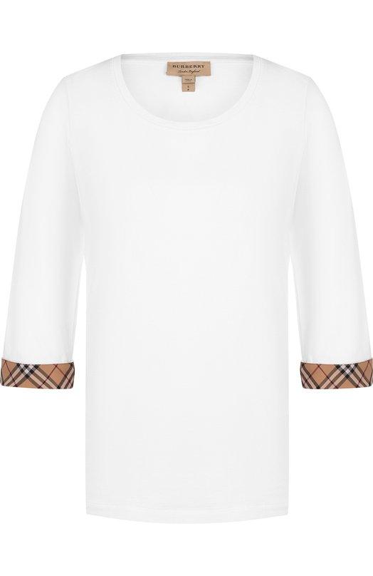 Купить Хлопковый пуловер с укороченным рукавом Burberry, 8002950, Китай, Белый, Хлопок: 93%; Эластан: 7%;
