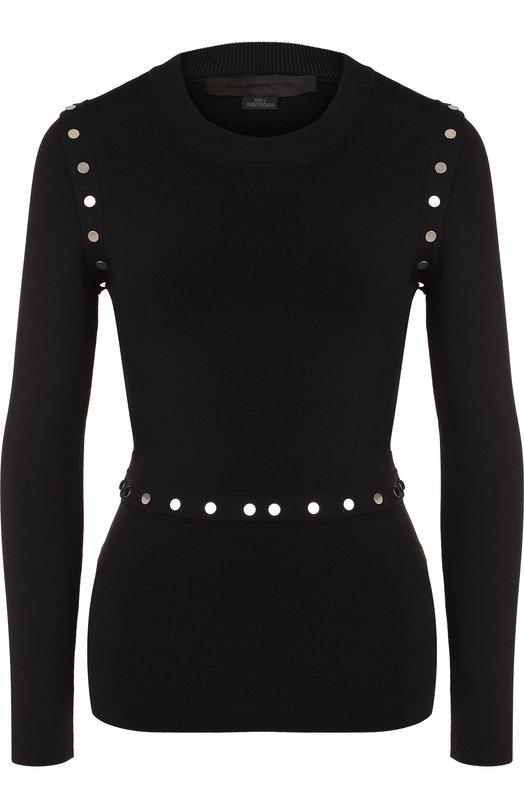 Купить Вязаный пуловер с круглым вырезом на кнопках Alexander Wang, 1K281069K9, Китай, Черный, Вискоза: 76%; Полиамид: 22%; Эластан: 2%;