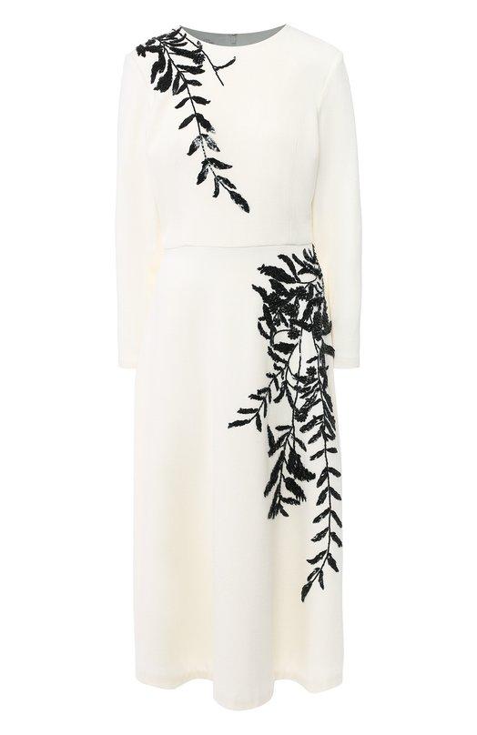 Купить Шерстяное платье-миди с декоративной отделкой Oscar de la Renta, 18FE222STW, США, Белый, Шерсть: 94%; Шерсть: 94%; подкладка шелк: 93%; Подкладка-шелк: 93%; Подкладка-спандекс: 7%; Лайкра: 5%; Полиамид: 1%; полиамид: 1%;