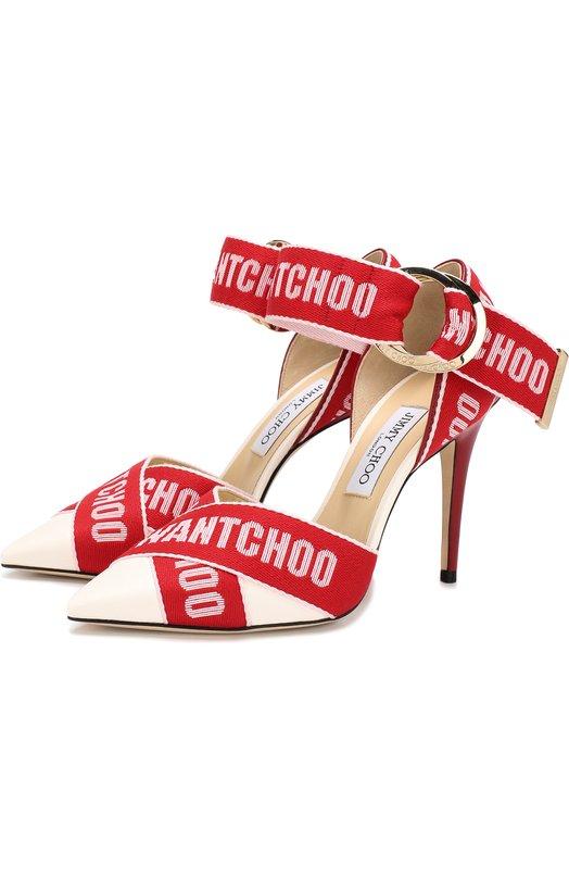 Купить Кожаные туфли Bea 100 на шпильке Jimmy Choo, BEA 100/GPQ, Италия, Красный, Текстиль: 55%; Текстиль: 55%; Кожа: 45%; Подкладка-кожа: 100%; Подошва-кожа: 100%;