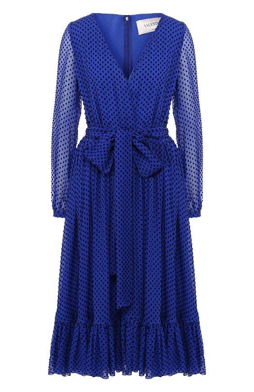 Купить Шелковое платье-миди с V-образным вырезом и поясом Valentino, QB3VAJ3242K, Италия, Синий, Шелк: 71%; Вискоза: 29%;