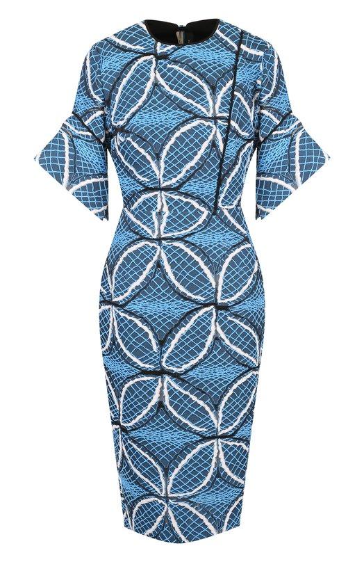 Купить Приталенное платье из смеси хлопка и шелка с декоративной вышивкой Roland Mouret, PW18/S0401/F0164, Словения, Голубой, Хлопок: 84%; Полиамид: 8%; Шелк: 8%;
