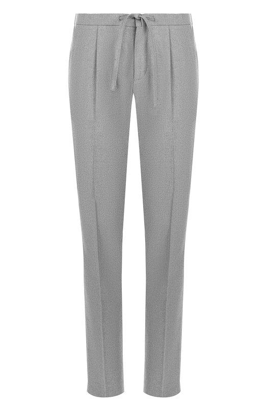 Купить Хлопковые брюки прямого кроя с поясом на кулиске Loro Piana, FAG3453, Италия, Серый, Хлопок: 98%; Эластан: 2%;