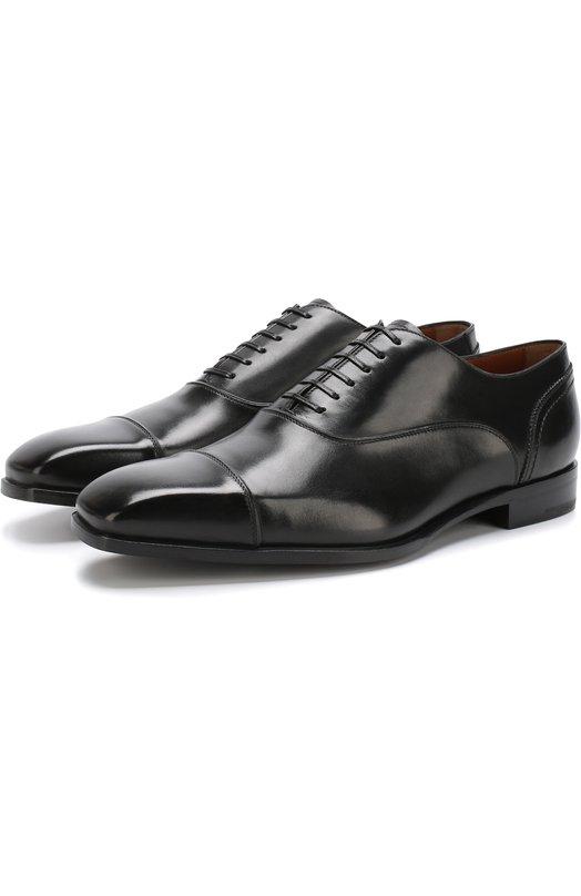 Купить Кожаные оксфорды на шнуровке Zegna Couture, A3085X-EVE, Италия, Черный, Подошва-Кожа: 70%; Подошва-Резина: 30%; Подкладка-Кожа: 100%; Кожа: 100%;