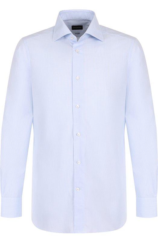 Купить Хлопковая сорочка с воротником кент Ermenegildo Zegna, 401214/9MS0BR, Румыния, Голубой, Хлопок: 100%;