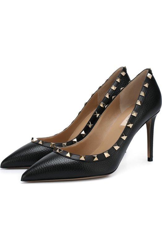 Купить Кожаные туфли Valentino Garavani Rockstud на шпильке Valentino, QW2S0A04/VCE, Италия, Черный, Подошва-кожа: 100%; Подкладка-кожа: 100%; Кожа: 100%;