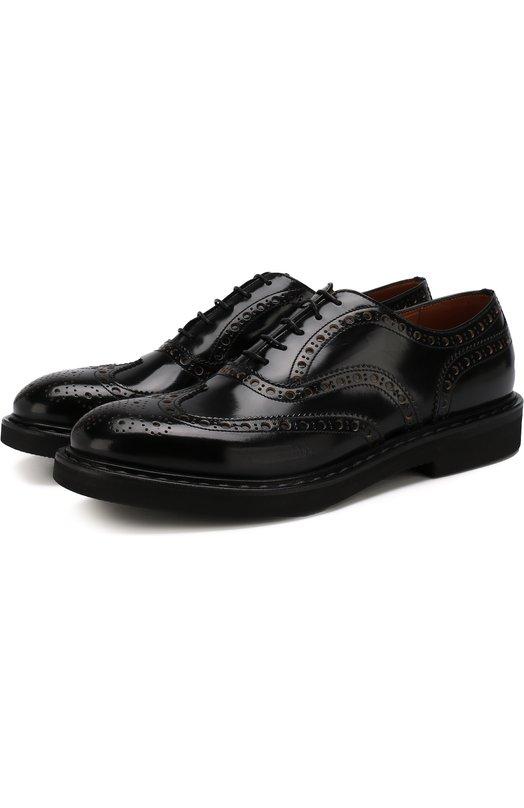 Купить Кожаные оксфорды на шнуровке с брогированием Premiata, 31116/NATURA, Италия, Черный, Кожа натуральная: 100%; Стелька-Кожа: 100%; Подошва-Резина: 100%; Подкладка-Кожа: 100%; Подошва-Полимер: 100%; Кожа: 100%;