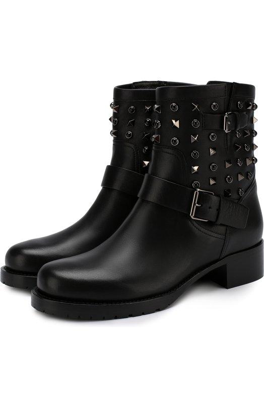 Купить Кожаные ботинки Valentino Garavani Rockstud Rolling Noir Valentino, QW2S0307/NPF, Италия, Черный, Подкладка-кожа: 100%; Подошва-полимер: 100%; Кожа: 100%;