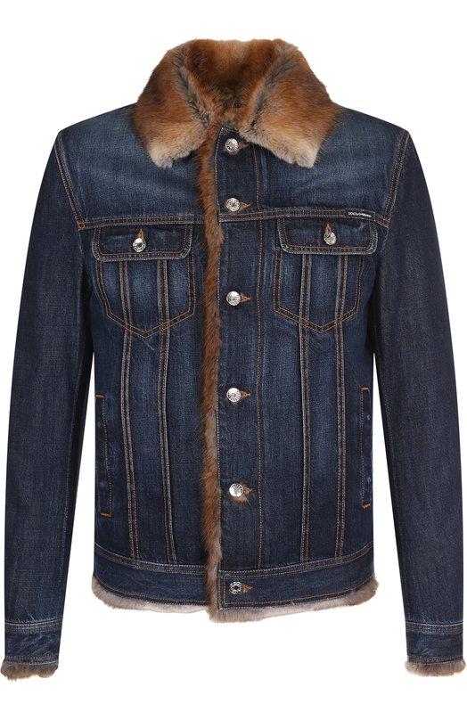 Джинсовая куртка с внутренней отделкой из меха ондатры Dolce & Gabbana, G9MM7Z/G8AB3, Италия, Темно-синий, Хлопок: 60%; Лиоцелл: 40%; Подкладка-Ондатра: 100%;  - купить