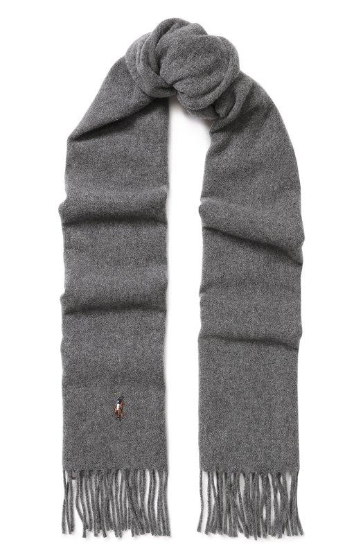 Купить Шерстяной шарф с бахромой Polo Ralph Lauren, 449727530, Италия, Светло-серый, Шерсть: 100%;