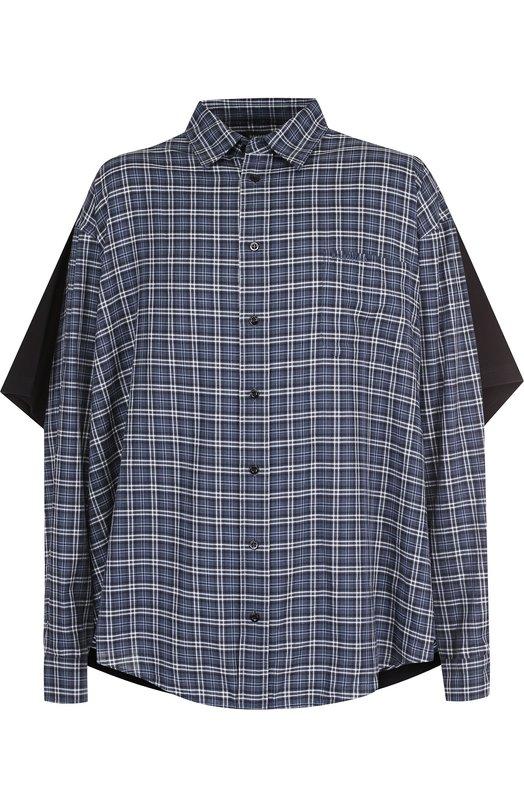 Купить Хлопковая рубашка свободного кроя Balenciaga, 534335/TBM15, Италия, Синий, Хлопок: 100%;