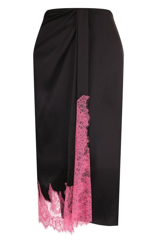 Купить Шелковая юбка-миди с кружевной вставкой Walk of Shame, SK002-PF18, Россия, Черный, Шелк: 100%;