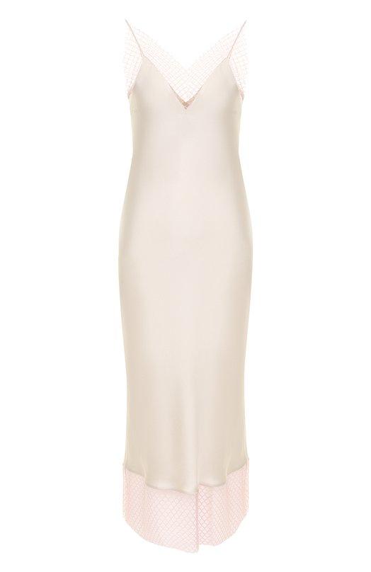 Купить Шелковое платье-миди декоративной вставкой Walk of Shame, DE005-PF18, Россия, Светло-серый, Шелк: 100%;