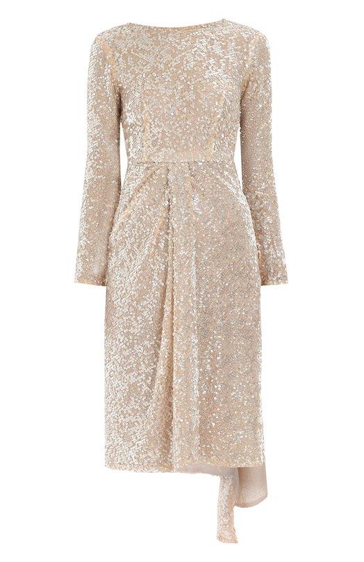 Купить Приталенное платье с пайетками и оборкой Walk of Shame, D007-PF18, Россия, Розовый, Полиэстер: 100%;