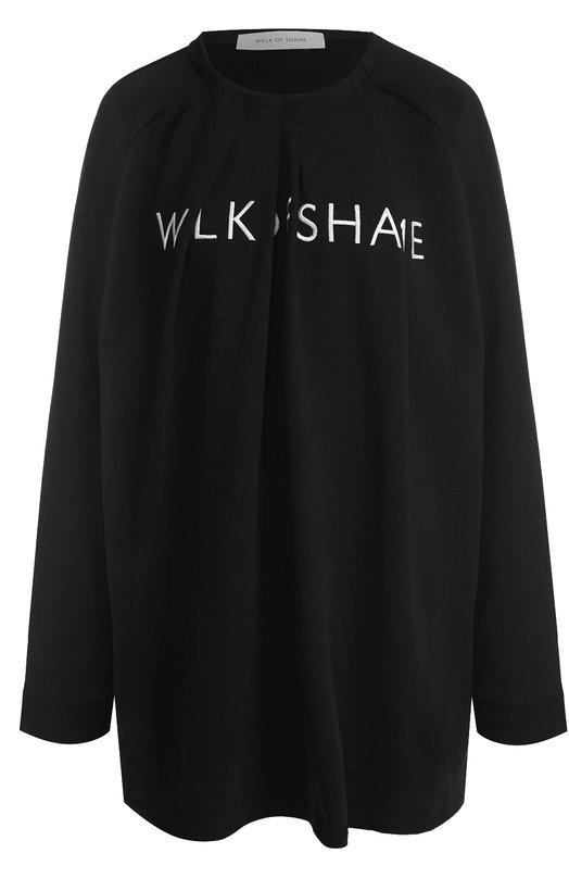 Купить Хлопковое мини-платье с логотипом бренда Walk of Shame, D017-PF18, Россия, Черный, Хлопок: 100%;