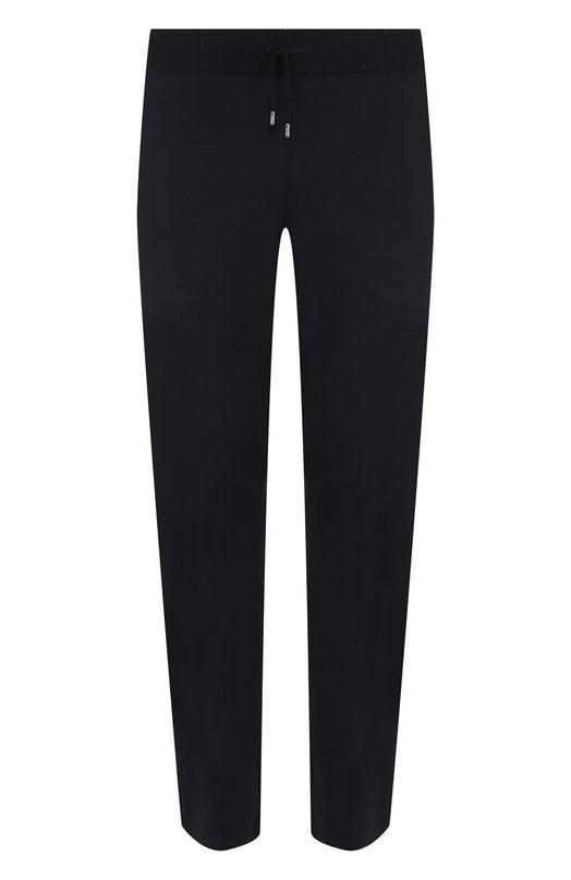 Купить Шерстяные брюки прямого кроя с поясом на резинке Brioni, UJ4D0L/07601, Италия, Темно-синий, Шерсть: 94%; Полиамид: 5%; Эластан: 1%;