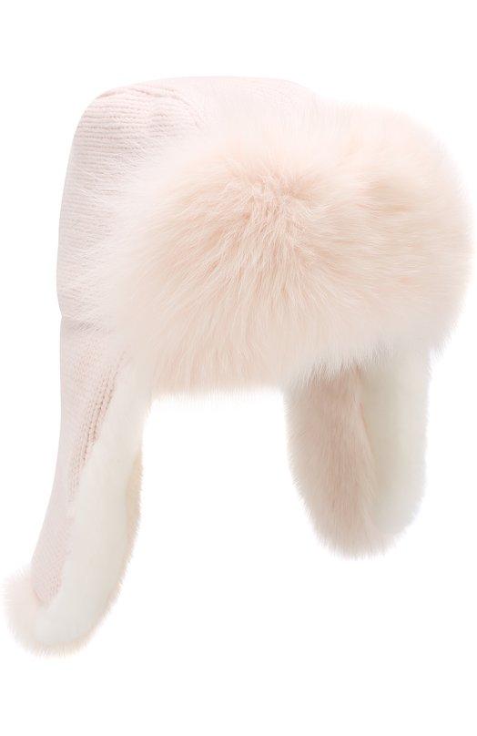 Купить Шапка фактурной вязки с меховой отделкой Yves Salomon, 9WAA019XXMARD, Франция, Светло-розовый, Мех/лисица/: 100%; Отделка мех./кролик-рекс/: 100%;