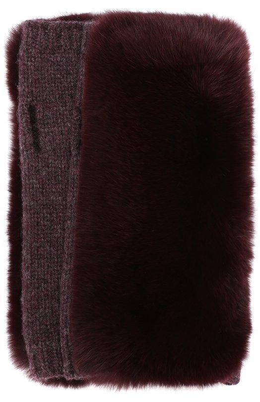 Купить Митенки из смеси шерсти и кашемира с меховой отделкой Yves Salomon, 9WAA026XXMARD, Франция, Фиолетовый, Шерсть: 90%; Кашемир: 10%; Отделка мех./кролик-рекс/: 100%;
