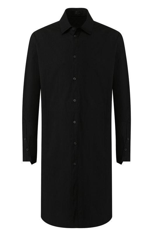 Купить Хлопковая удлиненная рубашка с воротником кент Lost&Found, M23.798.303, Италия, Черный, Хлопок: 96%; Эластан: 4%;