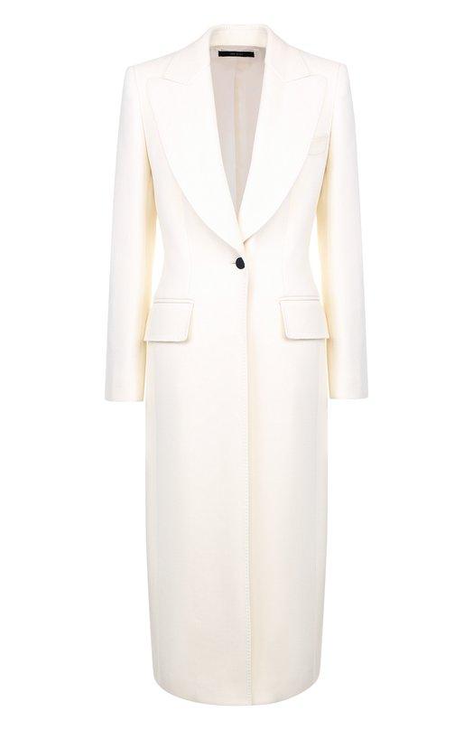 Купить Однотонное шерстяное пальто на одной пуговице Tom Ford, CP1443-FAX211, Италия, Белый, Шерсть: 99%; Подкладка-шелк: 51%; Подкладка-вискоза: 49%; Шелк: 1%;