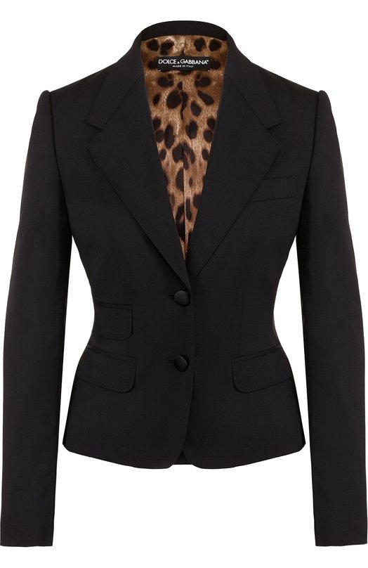 Купить Приталенный шерстяной жакет на двух пуговицах Dolce & Gabbana, F29G3T/FUBBG, Италия, Черный, Шерсть: 98%; Эластан: 2%;