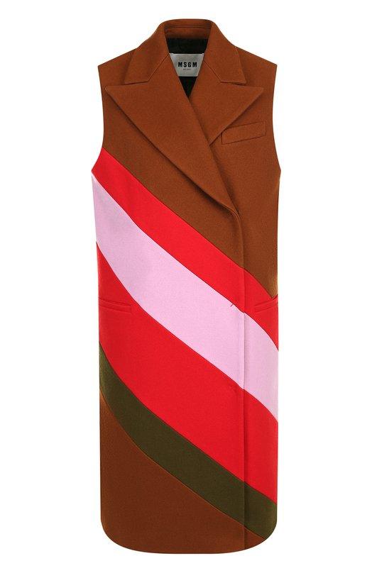 Купить Шерстяной жилет с контрастными полосками MSGM, 2541MDW05Y 184680, Италия, Разноцветный, Шерсть: 80%; Полиамид: 20%;