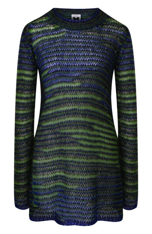Купить Удлиненный вязаный пуловер с круглым вырезом M Missoni, QD0KC12H2VQ, Италия, Разноцветный, Мохер: 67%; Шерсть: 5%; Полиамид: 28%;