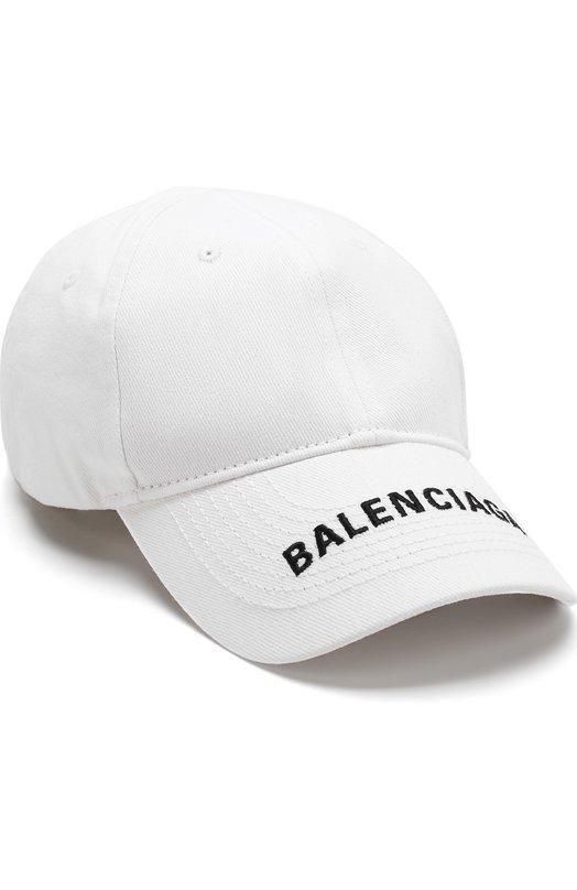 Купить Хлопковая бейсболка с логотипом бренда Balenciaga, 531588/410B7, Италия, Белый, Хлопок: 100%;