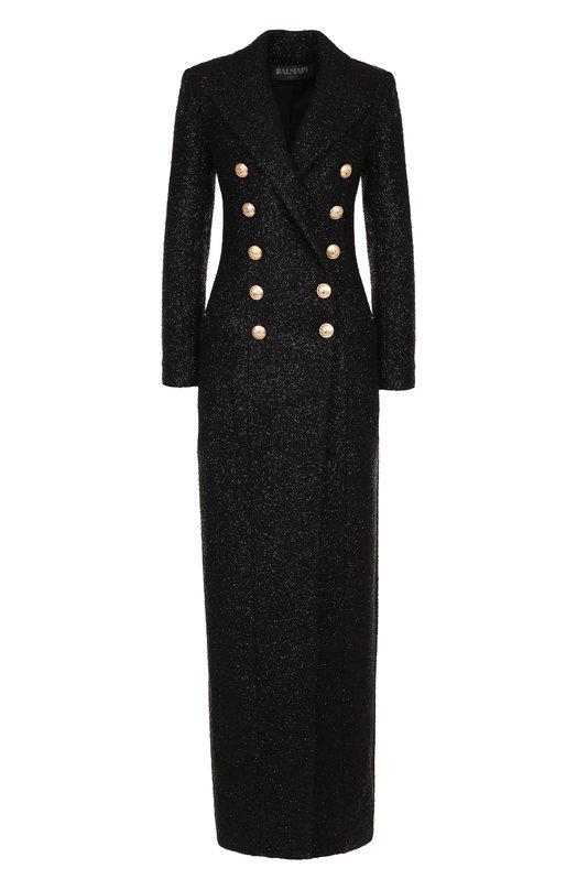 Двубортное шерстяное пальто с контрастными пуговицами Balmain Balmain