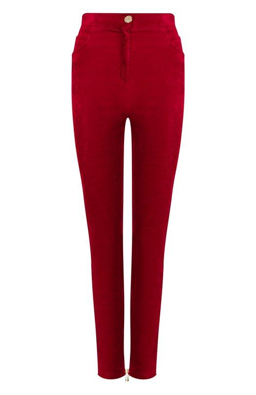 Купить Бархатные брюки прямого кроя Balmain, 145465/C013, Италия, Красный, Хлопок: 56%; Вискоза: 42%; Эластан: 2%;